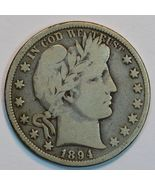1894 O Barber circulated silver half VG details - $35.00