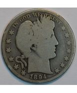 1894 P Barber circulated silver half G details - $20.00
