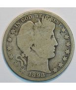 1898 O Barber circulated silver half AG details - $26.00