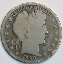 1898 P Barber circulated silver half AG details - $20.00