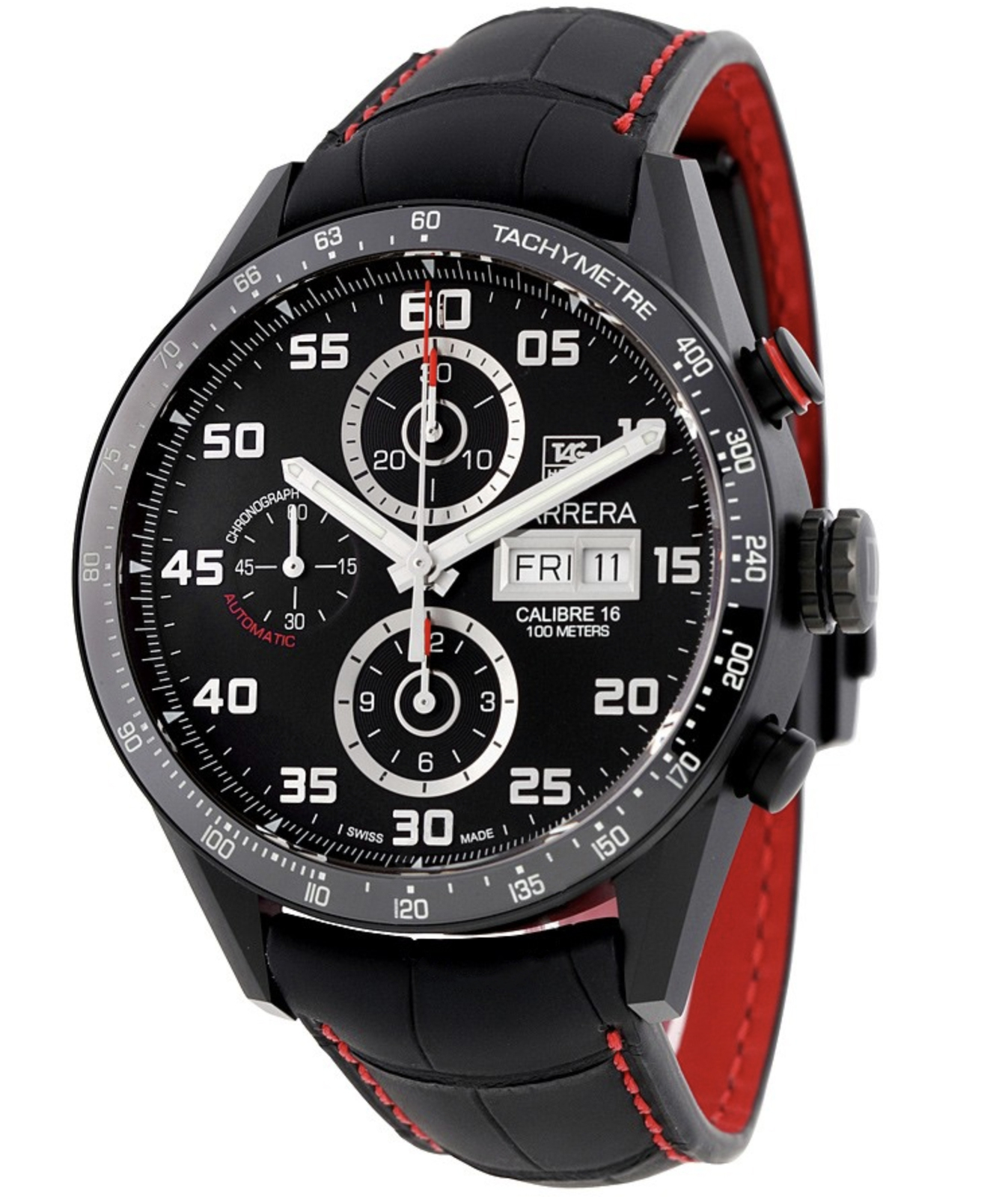 Primary image for Mens TAG HEUER CARRERA BLACK WHITE CHRONOGRAPH Watch RED ALLIGATOR STRAP NEW