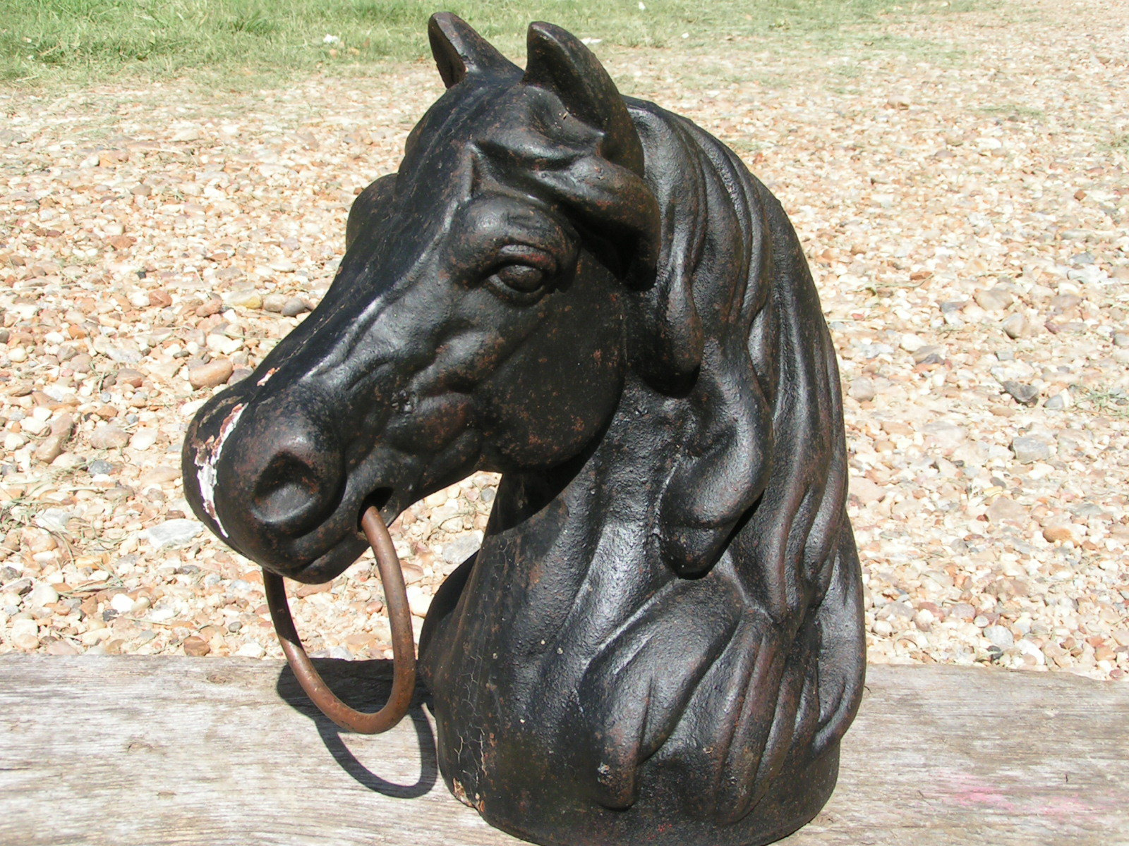 Old Cast Iron Horse Head Hitching Post