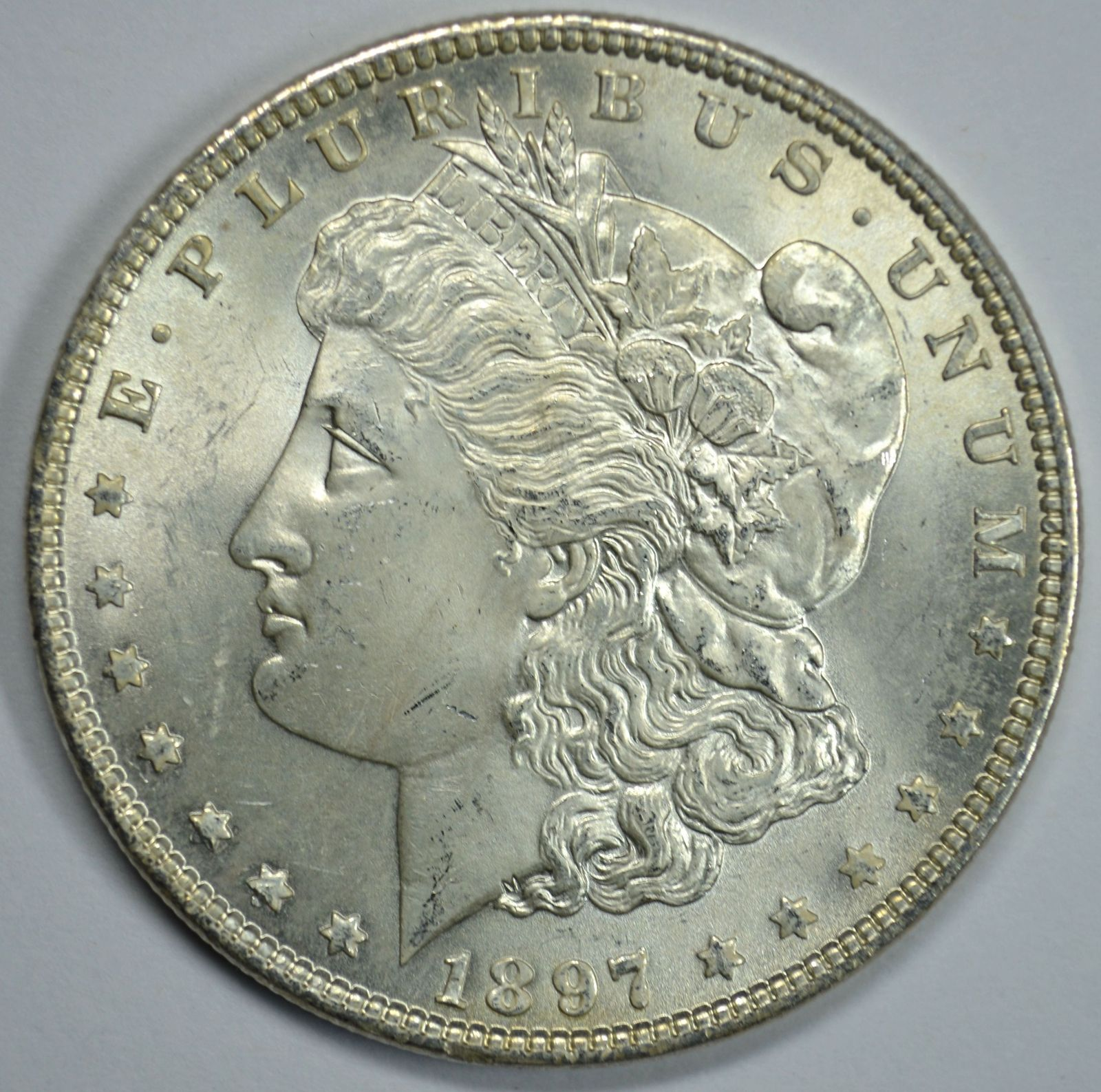 Primary image for 1897 P Morgan silver dollar BU detail Top 100 VAM - 6A Pitted Reverse Die Cracks