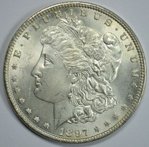 1897 P Morgan silver dollar BU detail Top 100 VAM - 6A Pitted Reverse Di... - $150.00