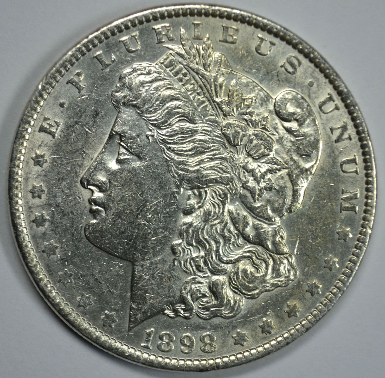 Primary image for 1898 P Morgan circulated silver dollar XF details