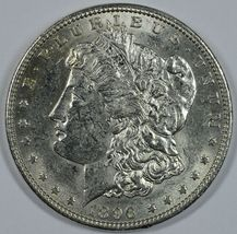 1896 P Morgan circulated silver dollar XF details - $48.00