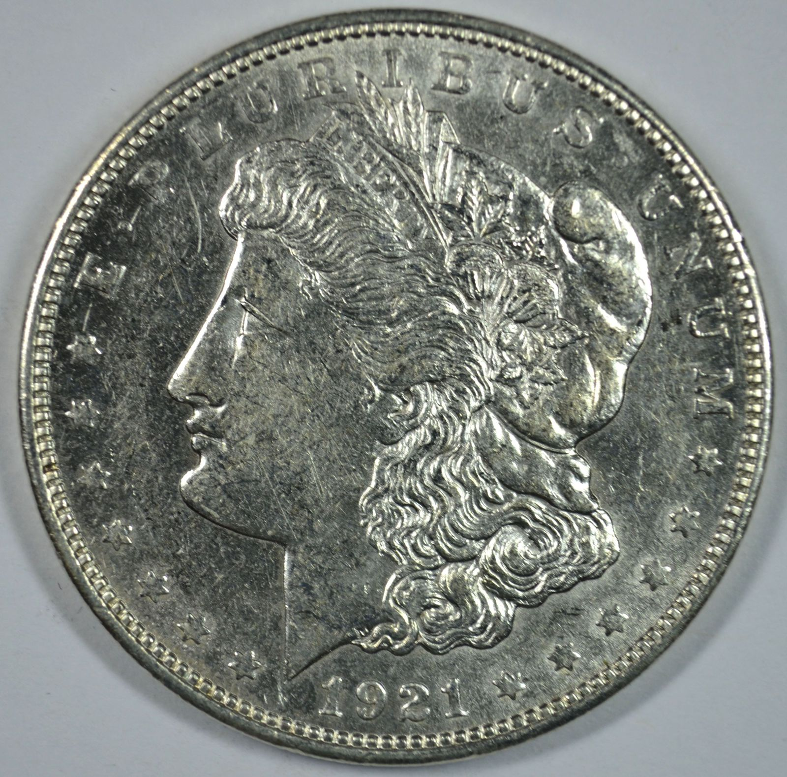 Primary image for 1921 D Morgan circulated silver dollar XF details
