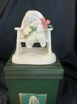Dept 56 Snowbabies I Love You A Whole Bunch Sitting on Bench Pink Roses ... - $24.00