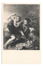 Murillo Painting The Cake Eaters Children Noyer Artist Exposition Postcard - $4.99