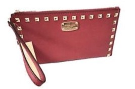 Nwt Michael Kors Saffiano Stud Leather Zip CLUTCH/WRISTLET In CHERRY/GOLD-HRDWR - $79.19