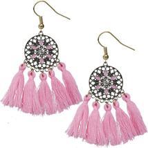 Pink Tassel Fringe Drop Earrings - $12.70