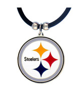 Pittsburgh Steelers Pendant Black Rubber Necklace - $10.45