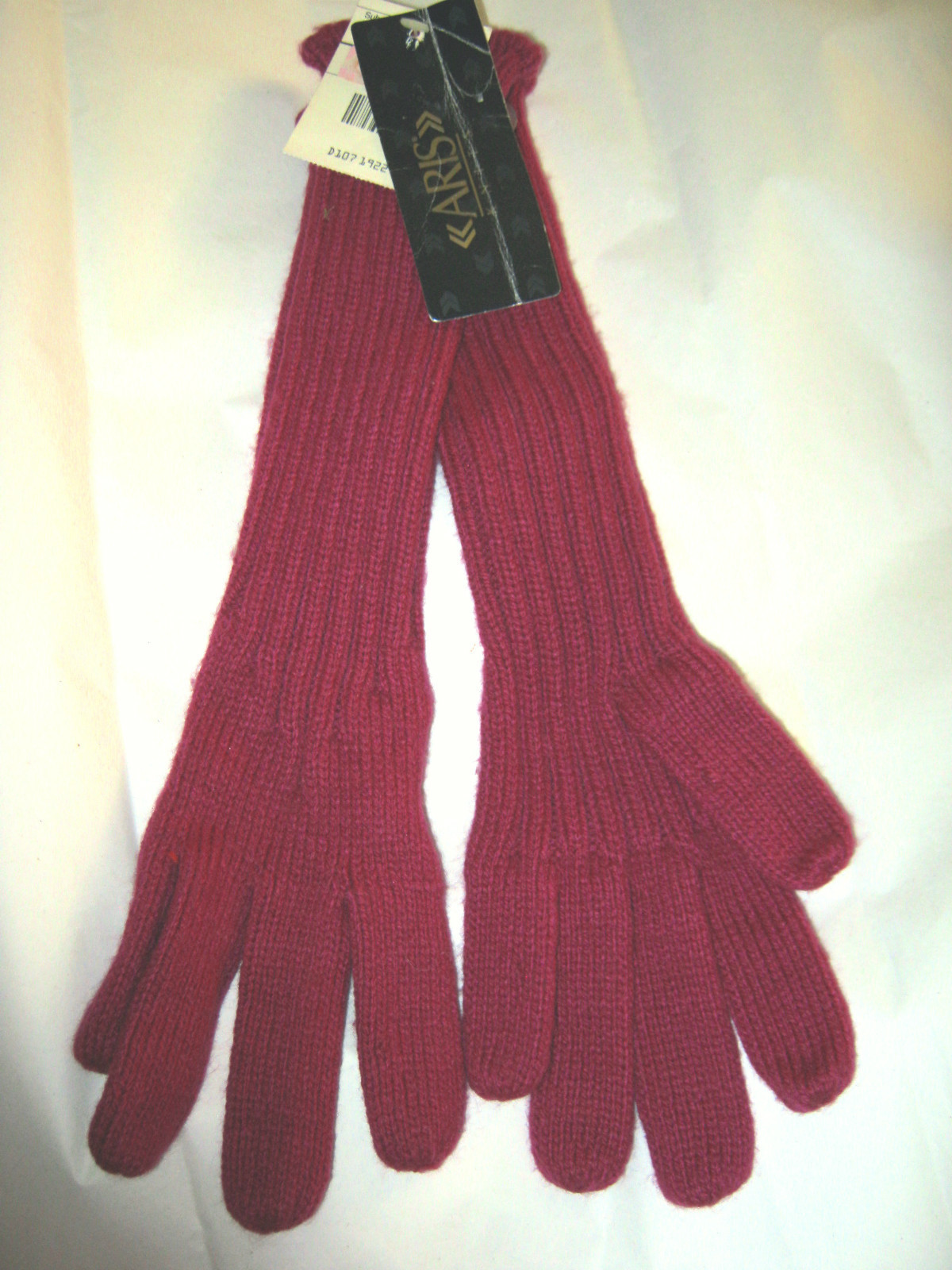 Primary image for Vtg Aris Knit mauve ribbed acrylic/nylon long elbow gloves 1 size NWT