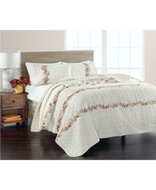 $220.00 Martha Stewart Collection Embroidered Flowers Quilt, Twin - $94.05