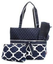NAVY BLUE GEOMETRIC PRINT QUILTED COTTON DIAPER BAG with CHANGING PAD! - $38.95
