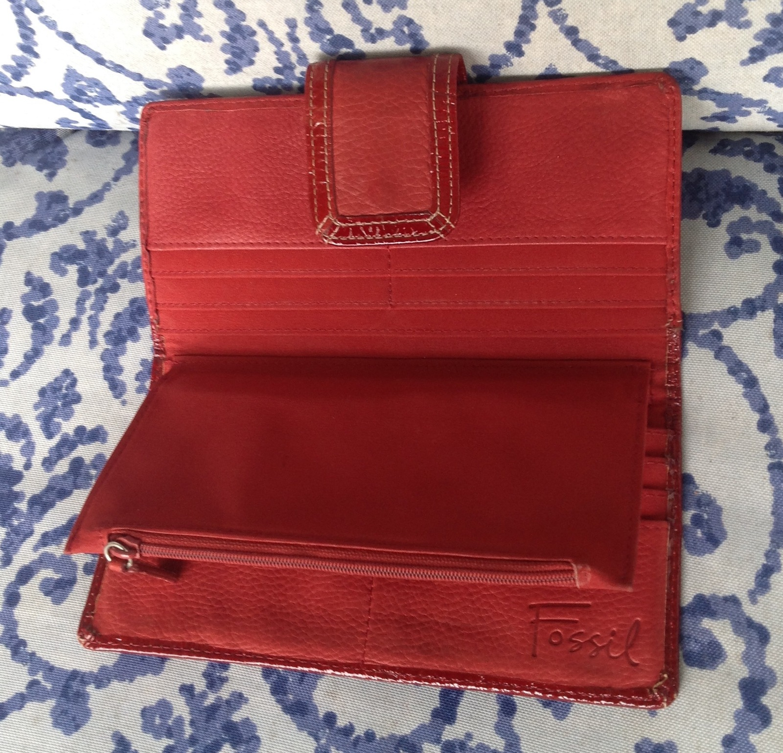 Fossil red pink gold leather clutch wallet