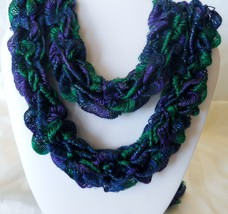 Hand-Knitted Ribbon Yarn Skinny Scarf Necklace Item #110, #186 Blue Gree... - $20.00