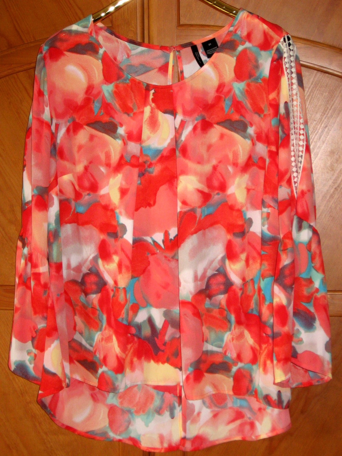 "Primary image for New Directions Pullover Dressy Floral Blouse, 54"" Bust, 2X/3X, NWOT"