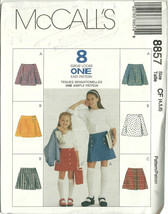 McCall's Sewing Pattern 8857 Girls Skirt Size 4 5 6 New Uncut - $9.98