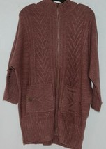 Simply Noelle Brand JCKT222SM Knitted Mauve Women's Zipper Jacket Size Small image 1
