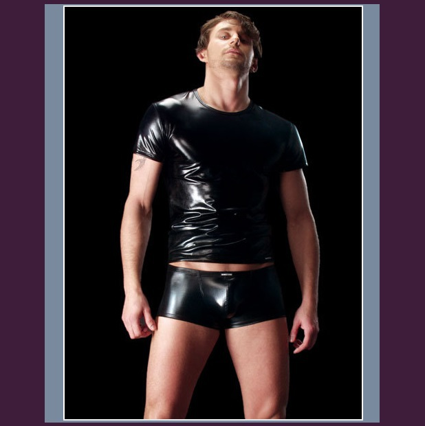 Black Tight Design Faux Leather Short Sleeve T-Shirt Lowride Faux Leather Boxers