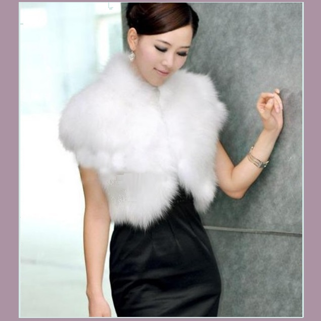 Mink Faux Fur Short Sleeved Vest Jackets White Black Natural Rose and Sapphire