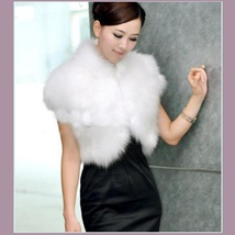 Mink Faux Fur Short Sleeved Vest Jackets White Black Natural Rose and Sapphire