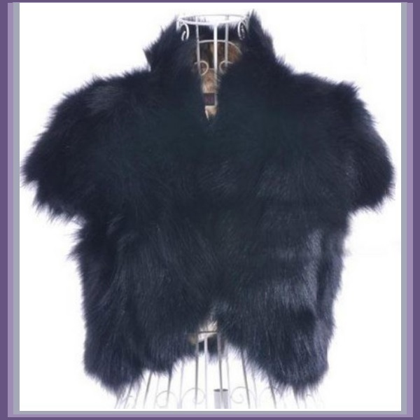 Mink Faux Fur Short Sleeved Vest Jackets White Black Natural Rose and Sapphire image 2