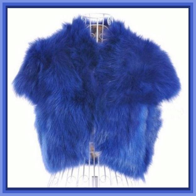 Mink Faux Fur Short Sleeved Vest Jackets White Black Natural Rose and Sapphire image 5