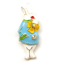 Brooch Fairytale White Blue Yellow Bunny Rabbit Alice Wonderland Lovely Suit Pin - $7.99