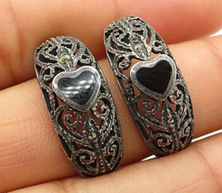 925 Silver - Vintage Marcasite & Onyx Small Heart Curved Stud Earrings - E3187 - $34.68