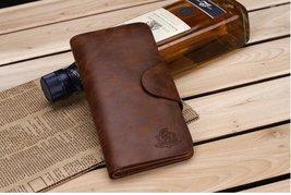 Vintage Brown Genuine Leather Long Mens Wallet Bifold ID Cards Holder  - $16.99