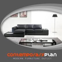 Modern Black Leather Sofa w Light/Table L Shaped Contemporary Minimalist Design - $2,295.00