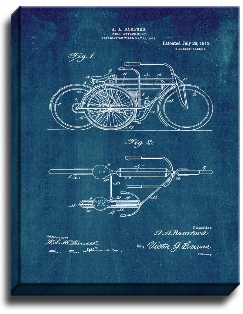 Primary image for Cycle Attachment Patent Print Midnight Blue on Canvas