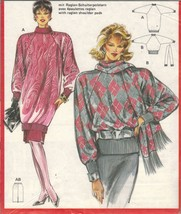Misses Career Office 3/4 Length Rib Sweater Knit Skirt Scarf Sew Pattern... - $11.99