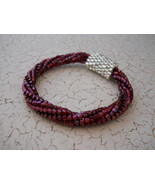 Beaded Bangle Bracelet, Cranberry & Silver; Tubular Spiral Herringbone &... - $36.00