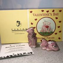 FENTON CAT FIGURINES Holiday Parade Valentines day signed art glass kitt... - $123.75