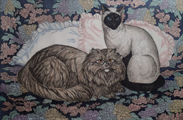 """Dorothy Lundquist Etching Longhair Brown & Siamese """"Cats &  Pillows"""" ret... - $35.63"""