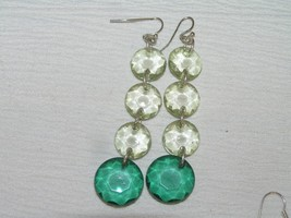 Estate Long Light & Dark Green Faceted Plastic Disk Dangle Earrings for ... - $8.59