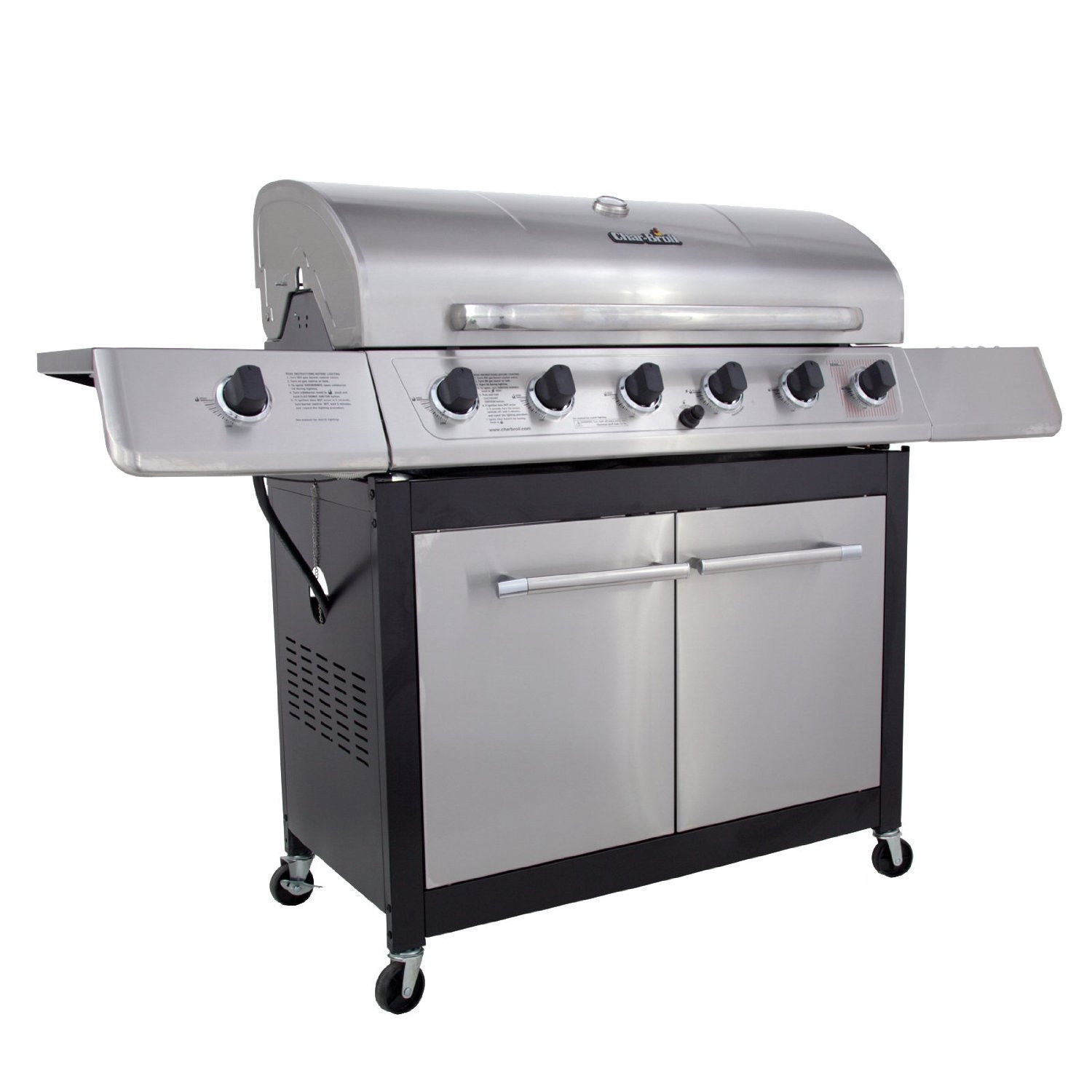 New Stainless Char-Broil 6 Burner Gas Grill Side Burner 65000 BTU BBQ Food Patio