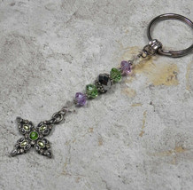 Cross Crystal Beaded Handmade Keychain Split Key Ring Green Lavender Silver - $16.48