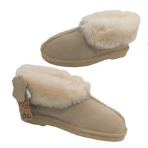 Ladies Slippers Uggs By Grosby Princess Leather Sheepskin Lining Beige S... - £33.53 GBP