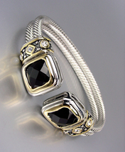 CLASSIC Designer Style Black CZ Crystals Double Silver Cables Cuff Bracelet - $29.99