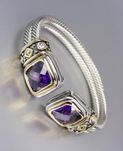 CLASSIC Designer Style Purple CZ Crystals Double Silver Cables Cuff Bracelet - $29.99