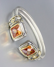 CLASSIC Designer Brown Topaz CZ Crystals Double Silver Cables Cuff Bracelet - $29.99