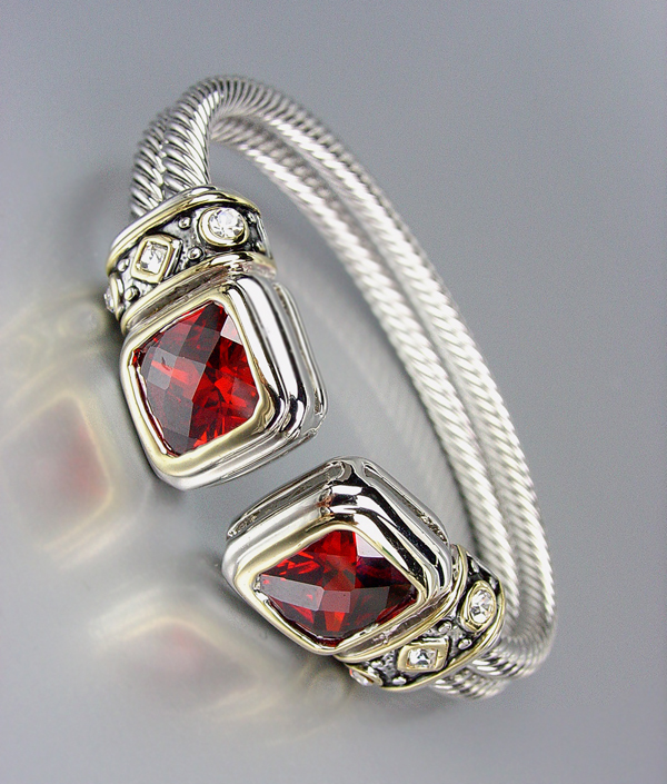 CLASSIC Designer Red Garnet CZ Crystals Double Silver Cables Cuff Bracelet - $29.99