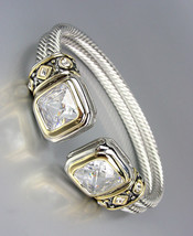 CLASSIC Designer Clear Topaz CZ Crystals Double Silver Cables Cuff Bracelet - $29.99