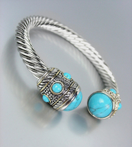 CLASSIC Designer Silver Cable Turquoise Stone End Tips Cuff Bracelet - $29.99