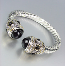 CLASSIC Designer Style Silver Cable Black Pearl Bead End Tips Cuff Bracelet - $26.99