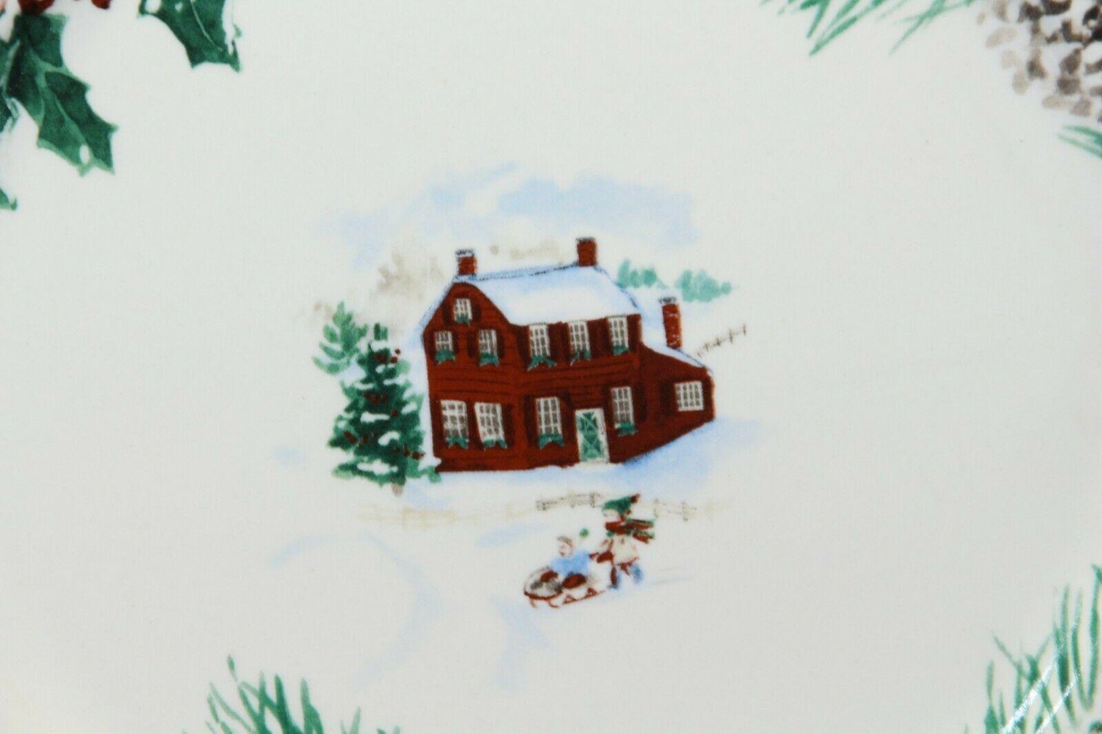 """Farberware White Christmas 2118 Dinner Plates 10.5"""" Lot of 8 image 3"""